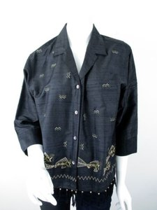 Chico's Silk Dupioni Fish Chevron Art To Wear Artsy Fringe Jacket 1 Top Black