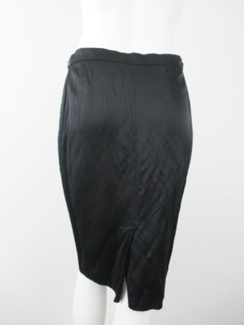 Moschino Cheap And Chic Shiny Crinkle Pencil Straight Italy Skirt Black