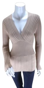 CAbi Tan Ribbed Banded Silk Sweater
