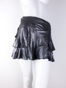 Anna Sui Metallic Ruffle Tiered Skirt Black, Silver