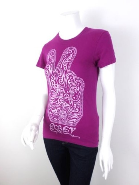 OBEY Magenta Peace Sign Hippie Boho Cotton T Shirt Purple