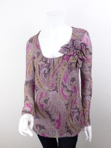 Sweet Pea by Stacy Frati Anthropologie Paisley Flower Long Slv Nylon Top Purple