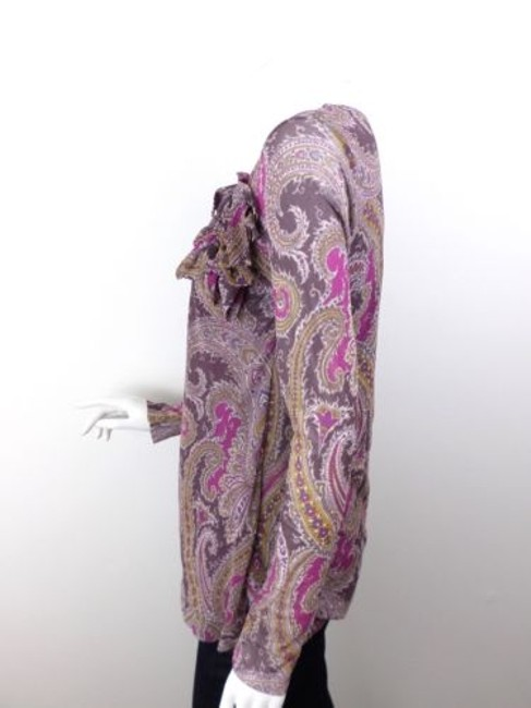 Sweet Pea by Stacy Frati Anthropologie Paisley Flower Long Slv Nylon Top Purple Image 1