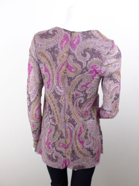 Sweet Pea by Stacy Frati Anthropologie Paisley Flower Long Slv Nylon Top Purple Image 2