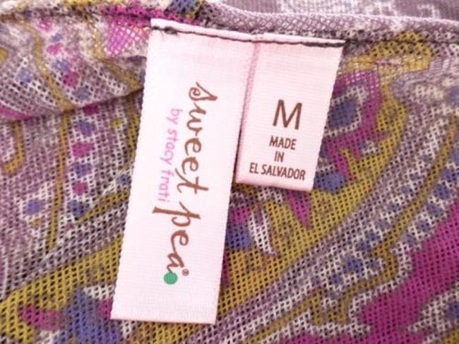 Sweet Pea by Stacy Frati Anthropologie Paisley Flower Long Slv Nylon Top Purple Image 3