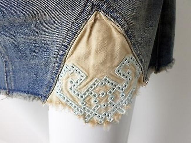 Free People Tire Swing Distressed Embroidered Hem Mini Skirt Medium Wash Denim