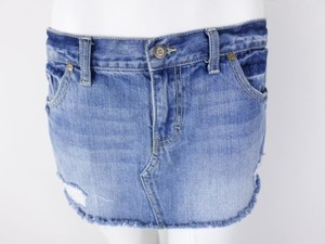 Victoria's Secret Victorias Pink Distressed Mini Jean Mini Skirt Medium Wash Denim