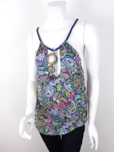 Free People People Blue Paisley Wooden Braided Strap Viscose Blouse Top Multi-Color