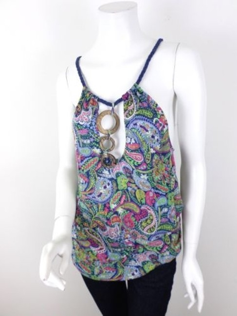 Free People Blue Paisley Wooden Braided Strap Viscose Blouse Top Multi-Color
