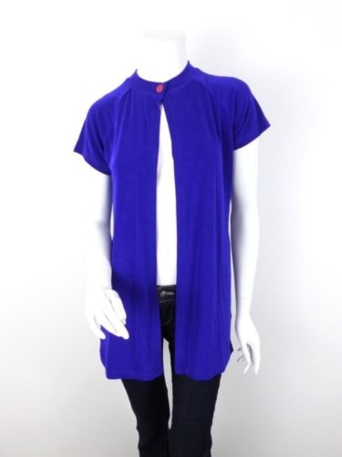 Preload https://item2.tradesy.com/images/citiknits-qvc-blue-slinky-ribbed-short-sleeve-cardigan-sweater-5818186-0-0.jpg?width=400&height=650