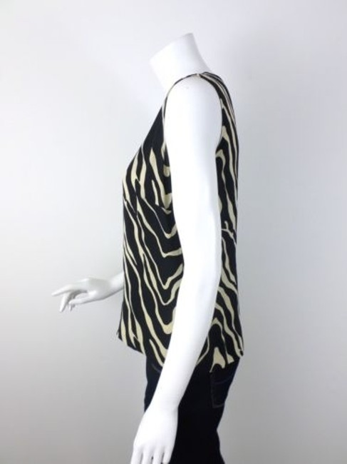 Doncaster Zebra Print 100 Silk Shirt Top Beige, Black