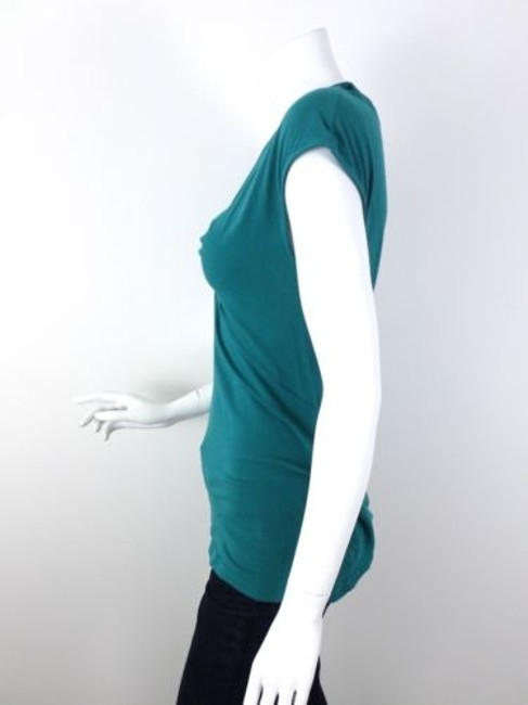 Deletta Anthropologie Knot Ruched Shirt Top Blue-Green