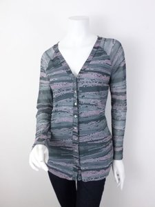 Sweet Pea by Stacy Frati Anthropologie Gray Button Front Nylon Mesh Cardigan Sweater