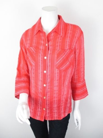 a69f0a7b21577b Chico s Chicos Red Pink Striped Silk Linen Cotton Blend Button Front Top  Blouse 1 outlet