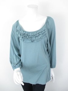 Garnet Hill Ruffle 100 Pima Cotton Long Sleeve Shirt Top Blue