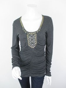 CAbi Charcoal Antoinette Embellished Ruched Shirt 158 Top Gray
