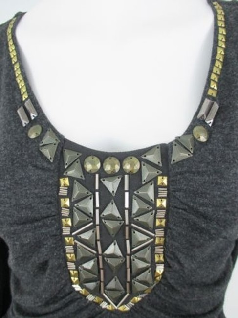 CAbi Charcoal Antoinette Embellished Ruched Shirt 158 Top Gray Image 1