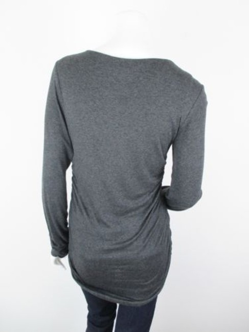 CAbi Charcoal Antoinette Embellished Ruched Shirt 158 Top Gray Image 3