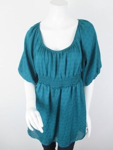 Odille Anthropologie Floral Peasant Tunic Shirt Top Green, Blue