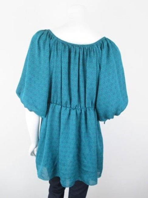 Odille Anthropologie Floral Peasant Tunic Shirt Top Green, Blue Image 2