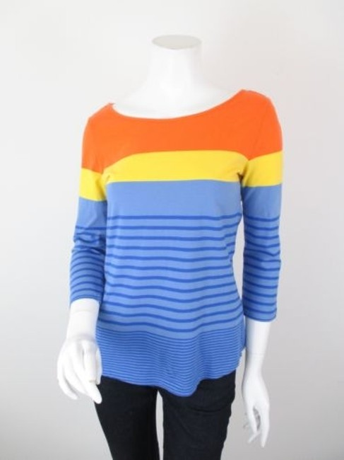 one.september Anthropologie Nautical Striped Shirt Top Blue, Yellow, Orange