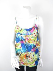 Boston Proper Watercolor Floral Tiered Spaghetti Strap Blouse Top Multi-Color