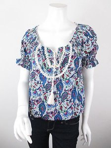 Hazel Anthropologie Paisley Print Boho Peasant S M Top Blue