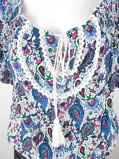 Hazel Anthropologie Paisley Print Boho Peasant S M Top Blue Image 1