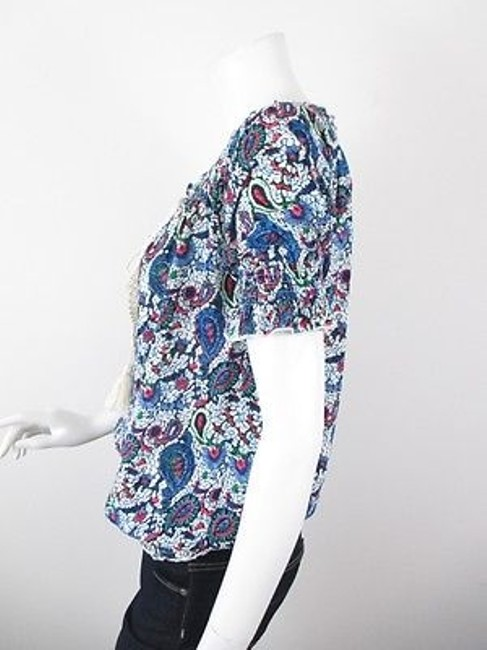 Hazel Anthropologie Paisley Print Boho Peasant S M Top Blue Image 2