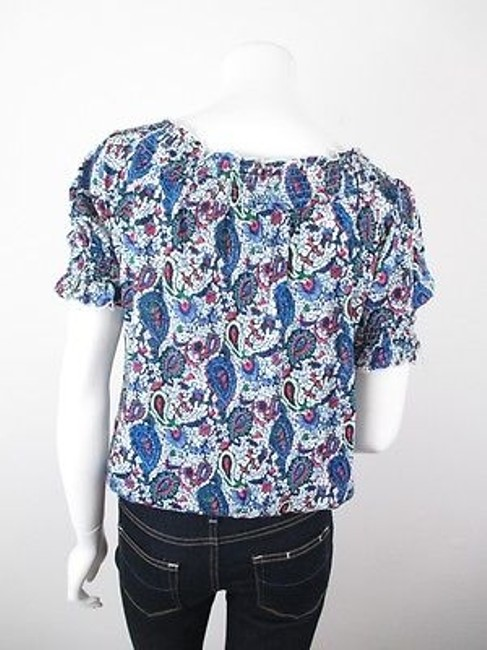 Hazel Anthropologie Paisley Print Boho Peasant S M Top Blue Image 3