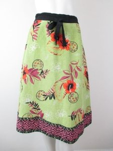 Soft Surroundings Silk Linen Tropical Hawaiian Floral Skirt Green