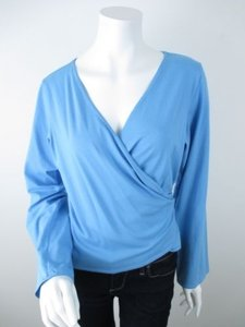 Eileen Fisher Long Sleeve Stretch Wrap Shirt Top Horizon Blue