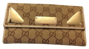 Gucci GUCCI GG Pattern Long Bifold Wallet Canvas Leather
