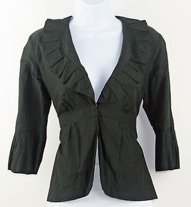 CAbi Cabi Black Gathered Pleated Collar Cuffs And Peplum Blazer B191