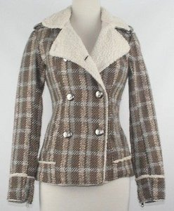 Material Girl Brown Beige Teal Silver Button Plaid B51 Brown Multi Jacket