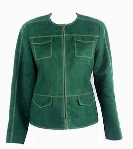 Kasper Kasper 6p Green Tan Stitch Four Pocket Zip Front Flat Peplum Blazer B190