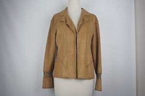 Other Beverly Hills Tan Faux Suede Crochet Trimmed Blazer B146
