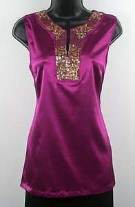 Apt. 9 Apt Sleeveless Notched Sequined Neckline B193 Top Purple