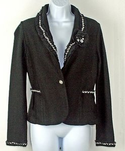 White House | Black Market White House Black Market Black Blazer W Detachable Flower Pin B240
