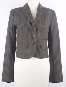 H&M H Brown Striped Three Button Blazer B145