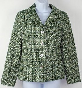 Chico's Chicos 0 Sea Of Tweed Ladybird Lime Aqua Tweed Blazer B240