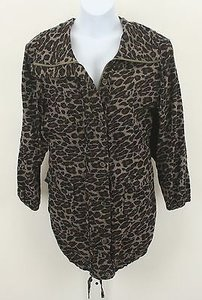 Ami 3x Black Brown Taupe Animal Ruffle Zip Front Ls 302 Multi-Color Jacket