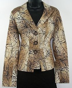 Coldwater Creek Coldwater Creek Tan Brown Black Jungle Prnt Back Pleat Peplum Blazer B194