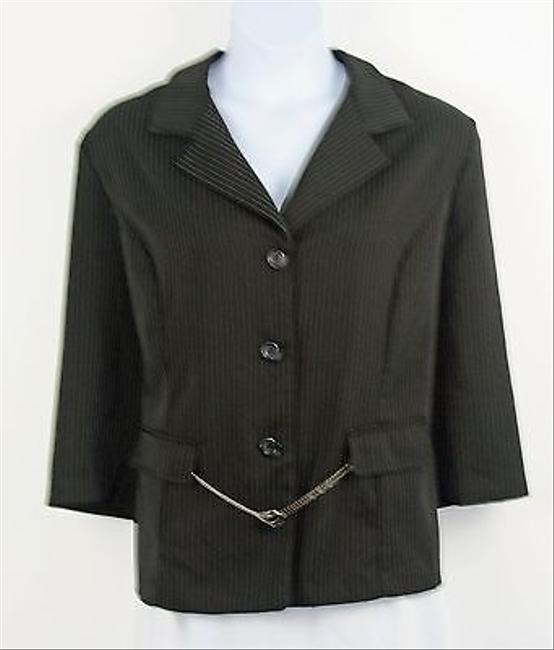 Other Pride Joy 24w Black Brown White Pin Stripe Silver Chain Belt Blazer B192