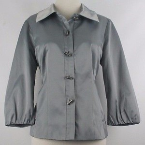 Chico's Chicos 0 Silver Grey Gathered Bell Sleeve Blazer B145