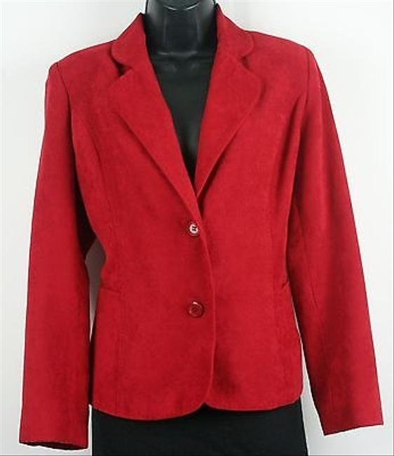 Briggs Briggs York 10p Red Faux Suede Two Button Blazer B195