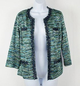 Chico's Chicos 0 Aqua Lime Ronique Teal Blazer B239