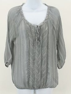 Express Silver Sheer Pleated B303 Top Gray