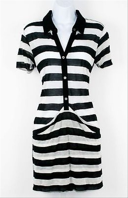Theory Black White Ss Striped Big Front Pocket Detail Womens B245 Tunic