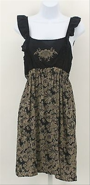 Only Mine short dress Mine Navy Taupe Floral Applique Ruffle Straps Short Sun B303 on Tradesy